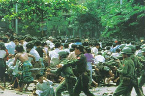 On 8 August 1988, thousands of people took to the streets in Rangoon.  People from all walks of life, including monks, teachers, hospital workers,  ...