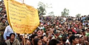 Gold mine protest in Mandalay Division. Photo © The Irrawaddy