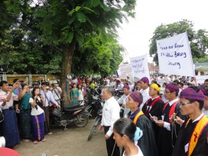 Protest in Myitkyina, Kachin State, for the release of a Kachin refugee