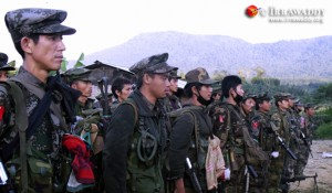 KIA troops stand at attention during a military drill at a base in Kachin State. Photo © The Irrawaddy