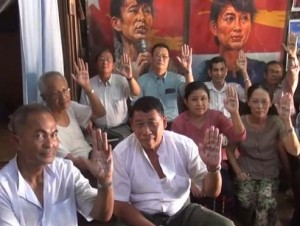 Human Rights Defenders and Promoters Network members campaigning for the release of Aye Myint © DVB