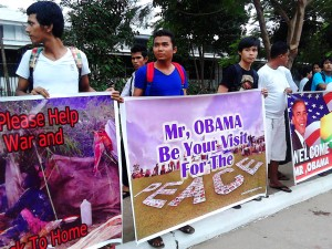 Demonstration at President Obama's speech in Rangoon