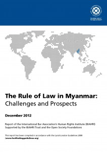 Myanmar IBAHRI report (December 2012) cover