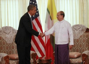 U.S. President Barack Obama shakes hands with Myanmar's President Thein Sein during their meeting in Yangon