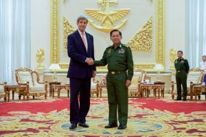 Secretary Kerry Shakes Hands with Myanmar Commander-in-Chief Min Aung Hliang before a Bilateral Meeting at the Commander-in-Chief's Compound in Naypyitaw