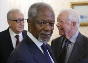 Former U.S. president Jimmy Carter (R), former U.N. Secretary-General Kofi Annan (C) and former Algerian Foreign Minister Lakhdar Brahimi, members of the Elders group, attend a meeting with Russia's Foreign Minister Sergei Lavrov (not in picture) in Moscow, Russia, April 28, 2015. Members of the Elders independent group are global political and public figures, who held top posts in their countries and international organizations, according to the Ministry of Foreign Affairs of Russia official web site. REUTERS/Maxim Shemetov - RTX1AM1E